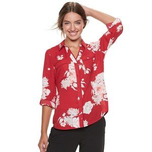 Red Floral Button Front Top